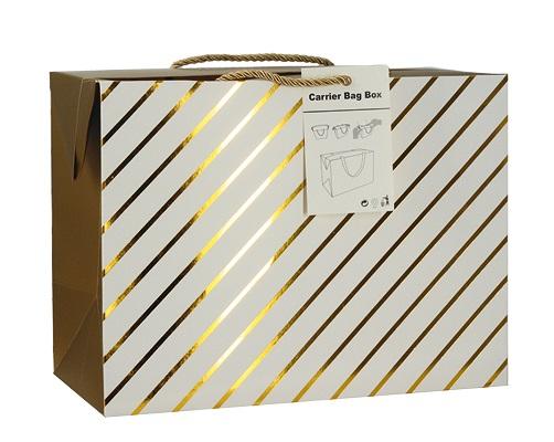 Dárková krabička s uchy 18x12x9 cm se zlatými proužky (12509)