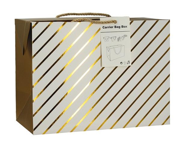 Dárková krabička s uchy 23x16x11 cm se zlatými proužky (12510)