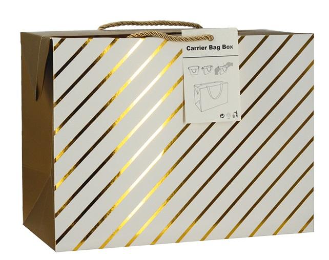 Dárková krabička s uchy 27x20x13 cm se zlatými proužky (12511)