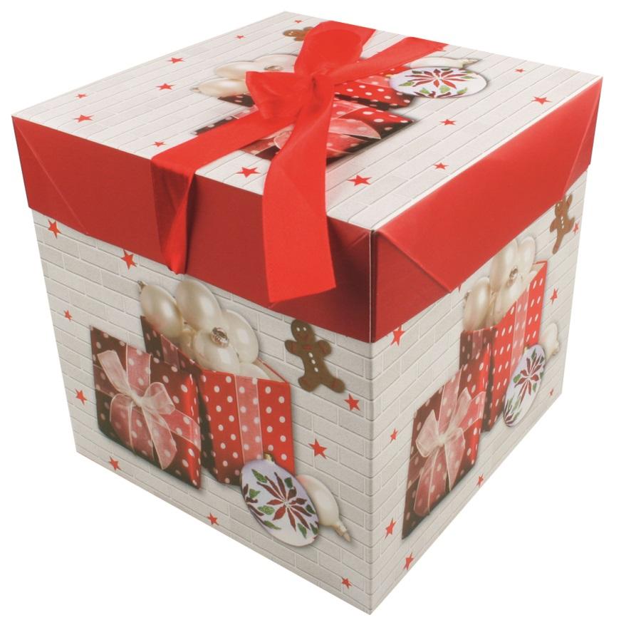 Dárková skládací krabička s mašlí XS 10,5x10,5x10,5 cm (12512)