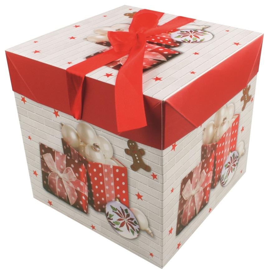 Dárková skládací krabička s mašlí M 16,5x16,5x16,5 cm
