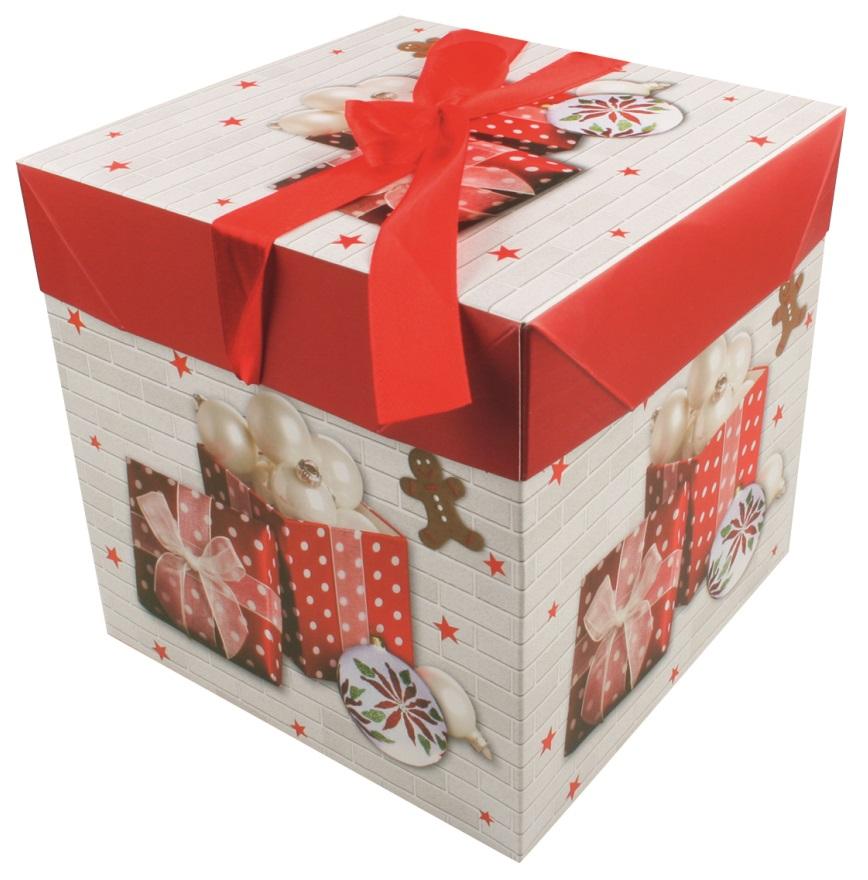 Dárková skládací krabička s mašlí L 21,5x21,5x21,5 cm