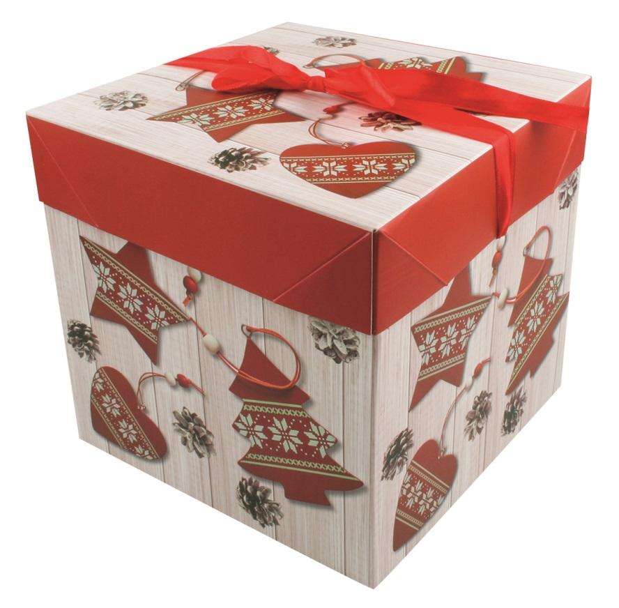 Dárková skládací krabička s mašlí XS 10,5x10,5x10,5 cm (12515) (12515)
