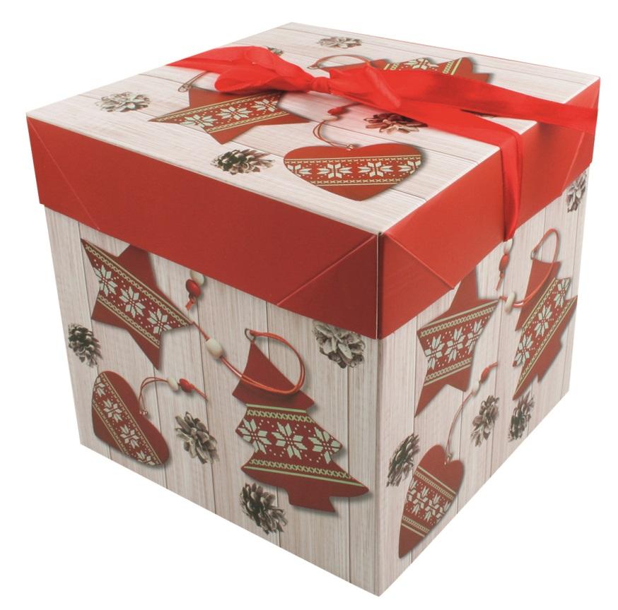 Dárková skládací krabička s mašlí M 16,5x16,5x16,5 cm (12516)