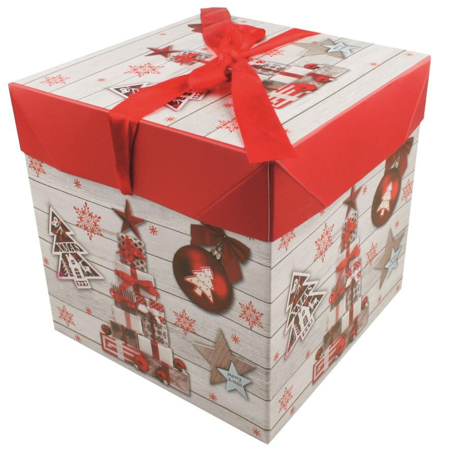 Dárková skládací krabička s mašlí XS 10,5x10,5x10,5 cm (12518)