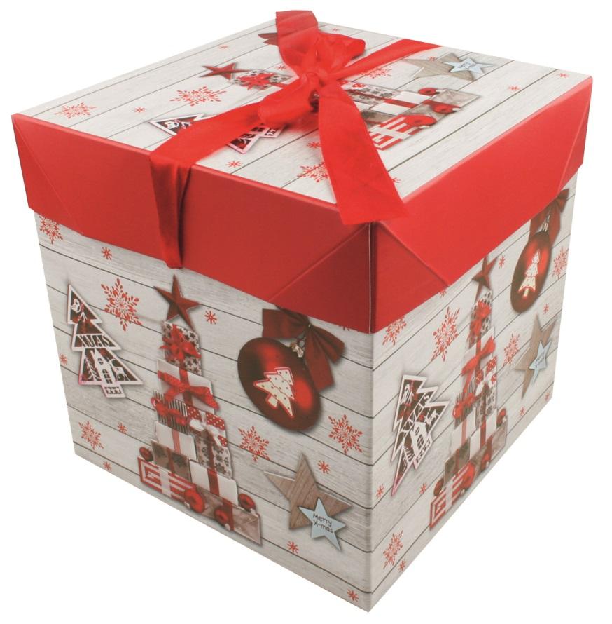 Dárková skládací krabička s mašlí M 16,5x16,5x16,5 cm (12519)