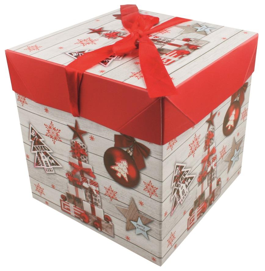 Dárková skládací krabička s mašlí L 21,5x21,5x21,5 cm (12520)