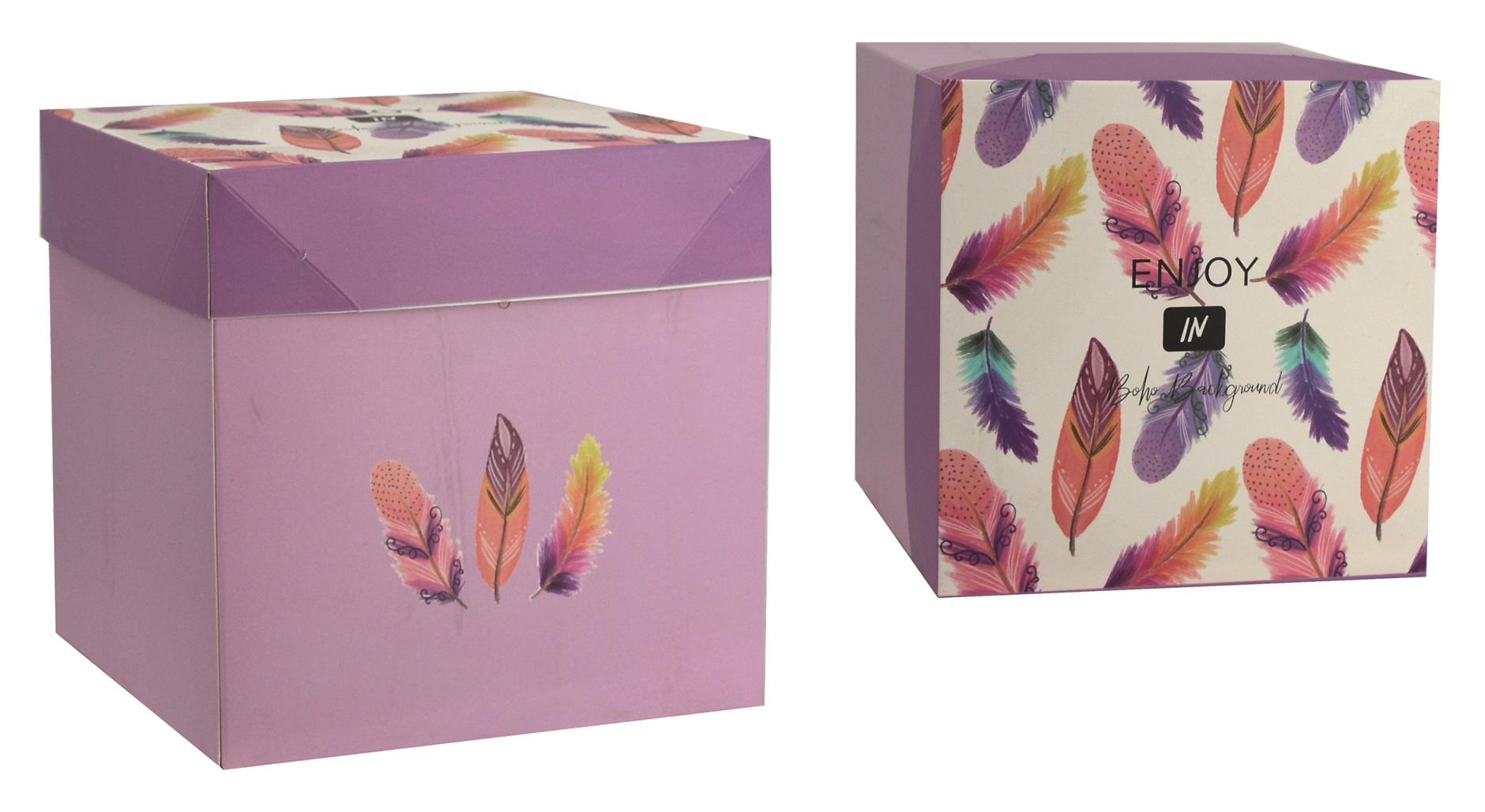 Dárková skládací krabička s mašlí M 16,5x16,5x16,5 cm peříčka