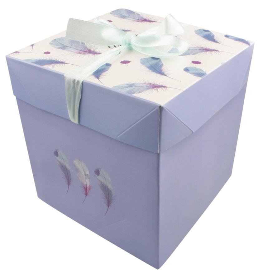 Dárková skládací krabička s mašlí M 16,5x16,5x16,5 cm peříčka (12522)
