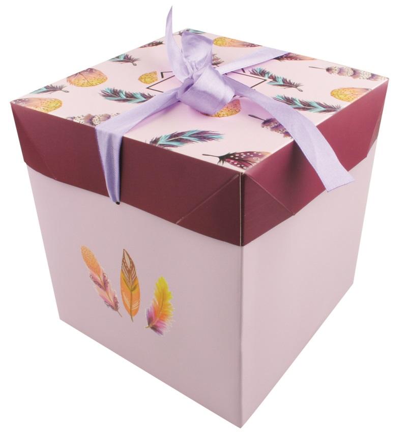 Dárková skládací krabička s mašlí M 16,5x16,5x16,5 cm peříčka (12523)