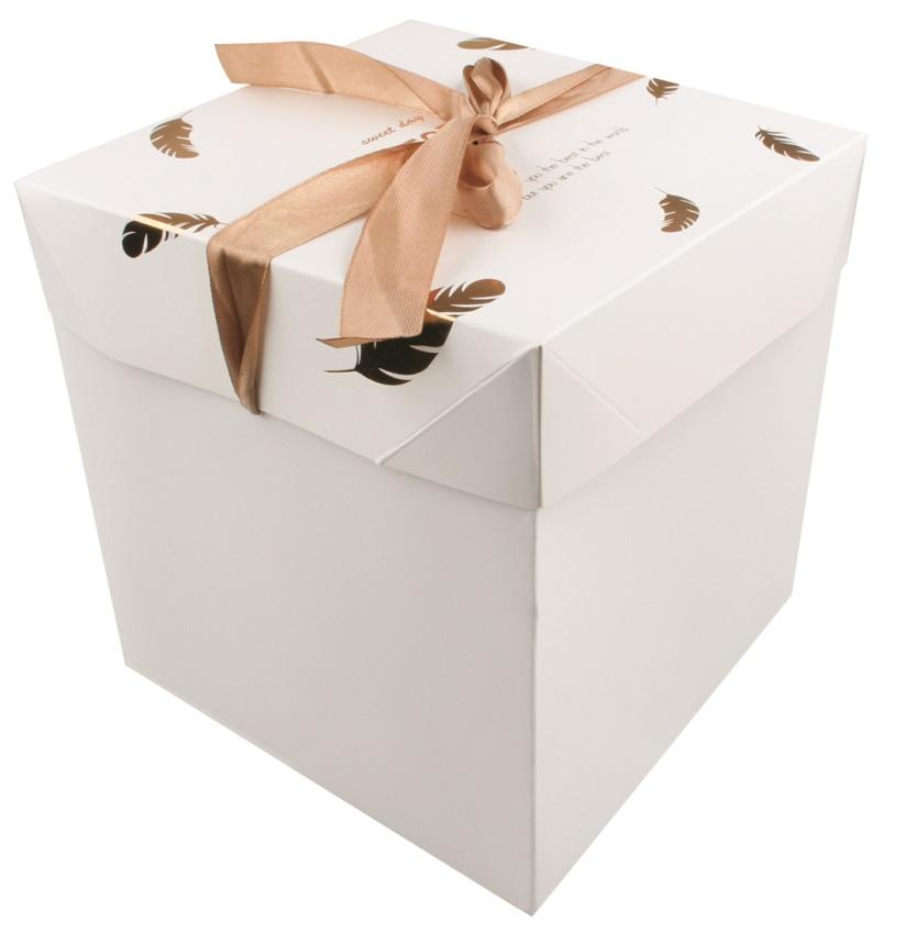 Dárková skládací krabička s mašlí XS 10,5x10,5x10,5 cm zlatá peříčka