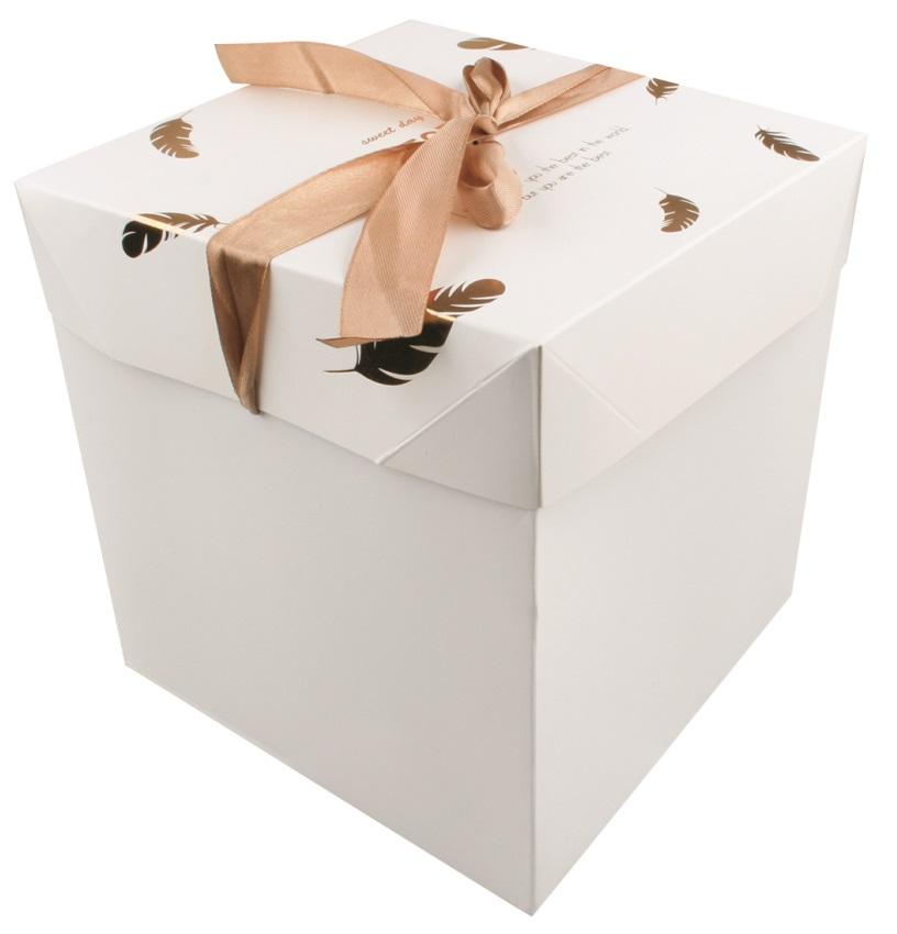 Dárková skládací krabička s mašlí M 16,5x16,5x16,5 cm zlatá peříčka