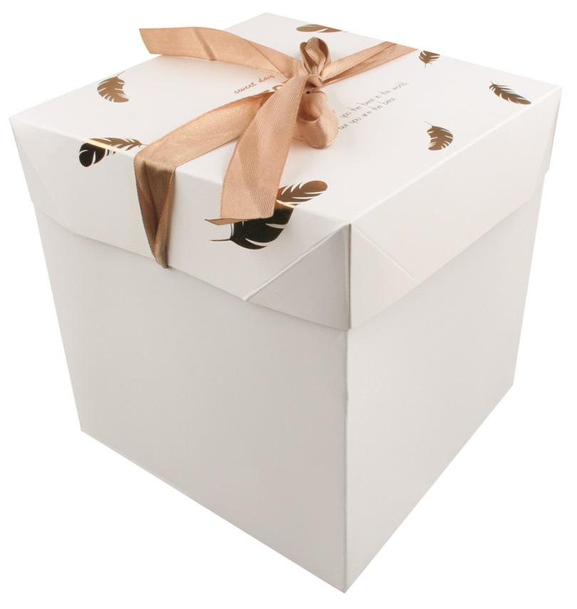 Dárková skládací krabička s mašlí L 21,5x21,5x21,5 cm zlatá peříčka (12526)