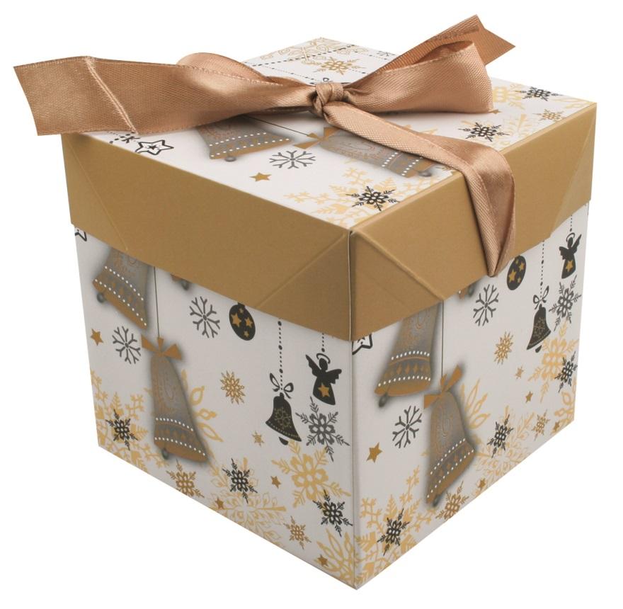 Dárková skládací krabička s mašlí XS 10,5x10,5x10,5 cm (12527) (12527)