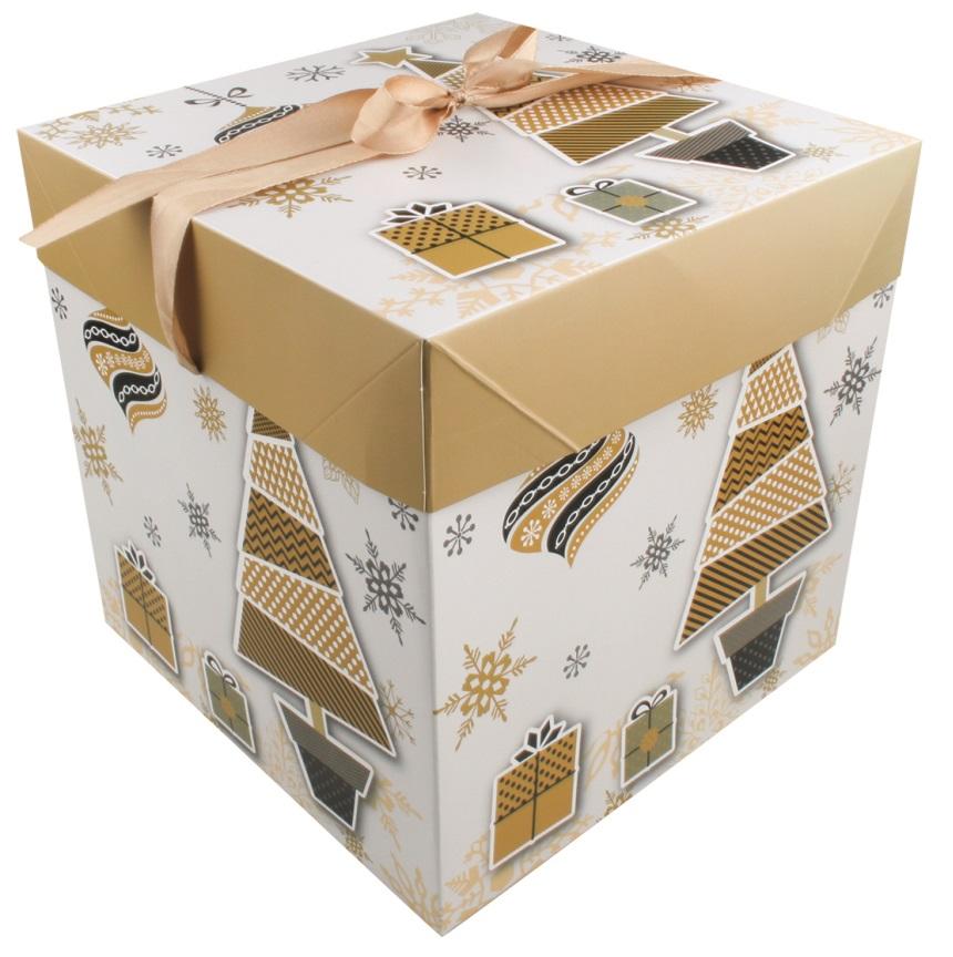 Dárková skládací krabička s mašlí L 21,5x21,5x21,5 cm (12530)