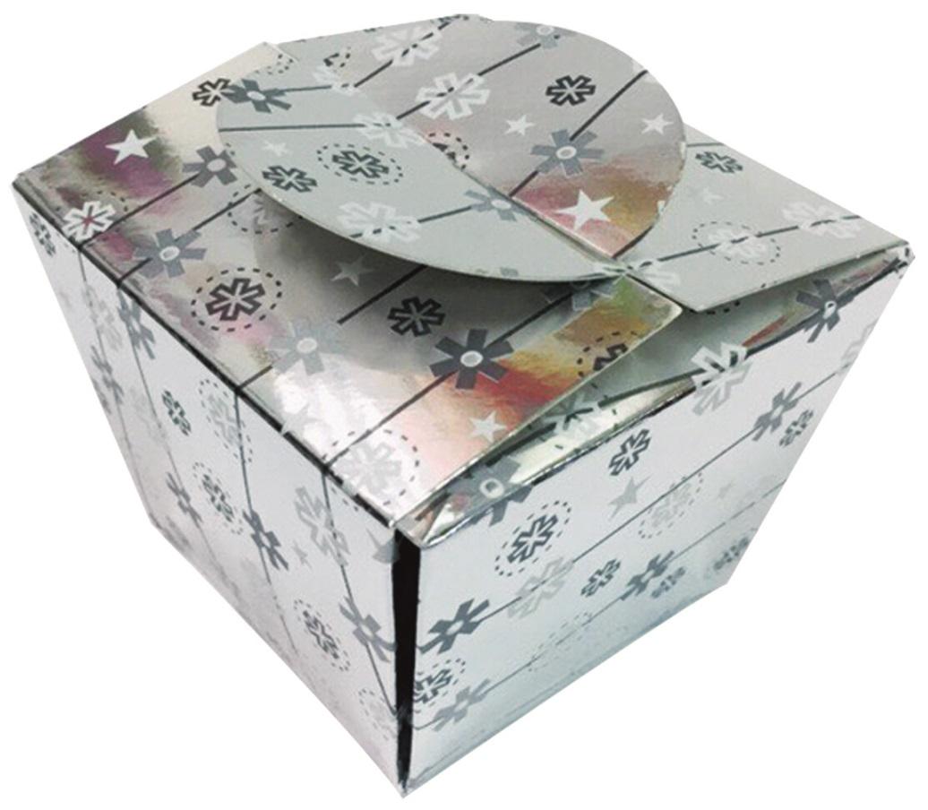 Skládací krabička dárková stříbrná 8x8x6 cm (12901)