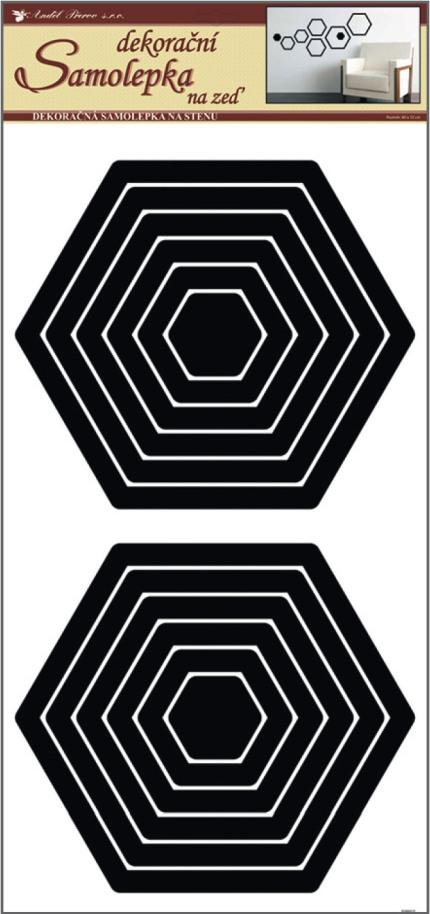 Samolepky na stěnu šestiúhelník černý, 60x32cm (1325)