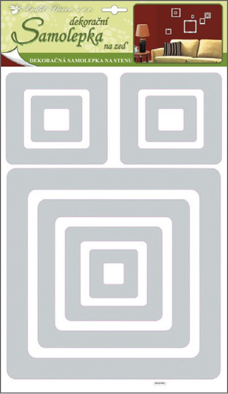 Samolepky na stěnu čtverce 3D-EVA,stříbrný gliltr, 41x29x0,4cm (1329)