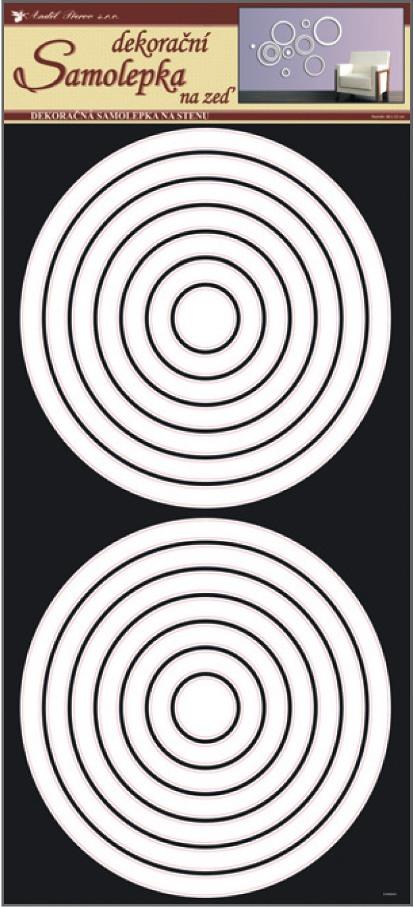 Samolepky na stěnu kruhy bílé, 60x32 cm