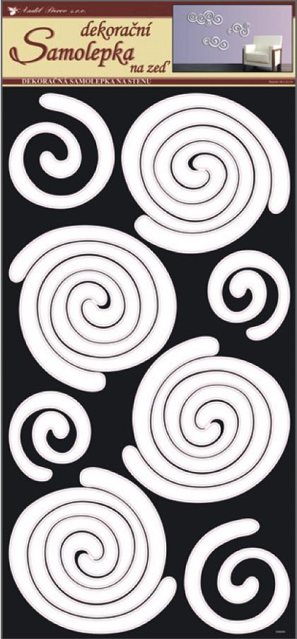 Samolepky na stěnu spirály bílé, 60x32 cm