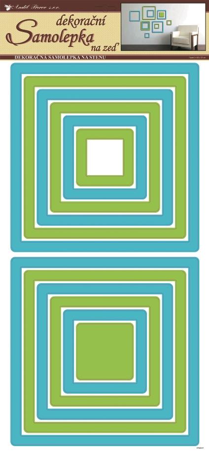 Samolepky na stěnu čtverce zelenomodré, 60x32 cm