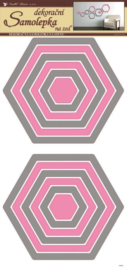 Samolepky na stěnu šestiúhelníky šedorůžové, 60x32 cm