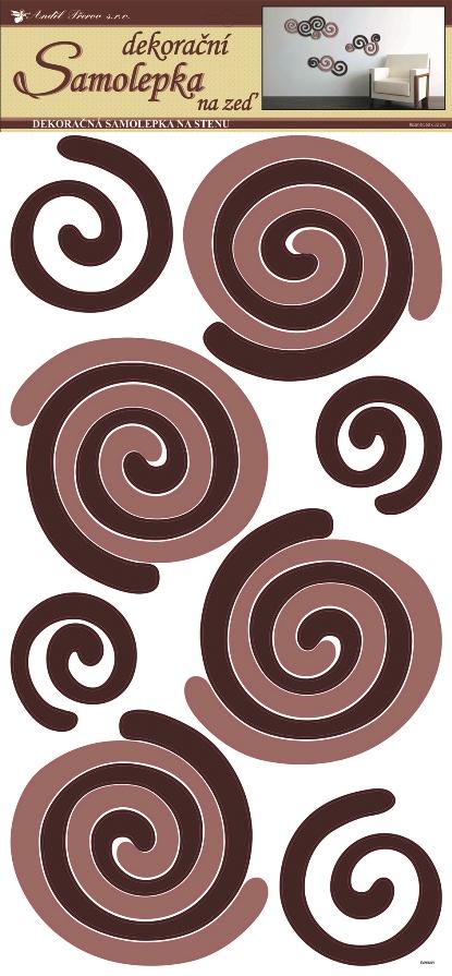Samolepky na stěnu spirály béžovohnědé, 60x32 cm (1338)