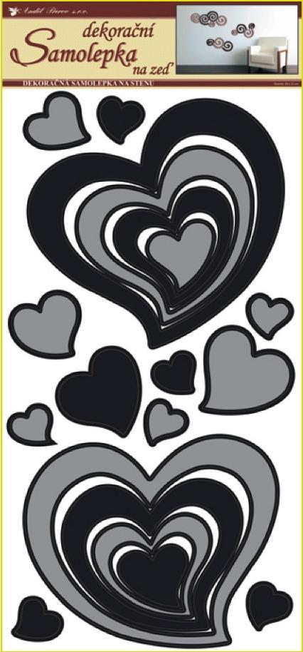 Samolepky na stěnu srdce šedočerná, 60x32 cm (1340)