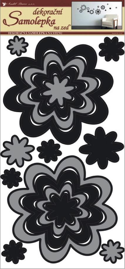 Samolepky na stěnu květy šedočerné, 60x32 cm (1342)