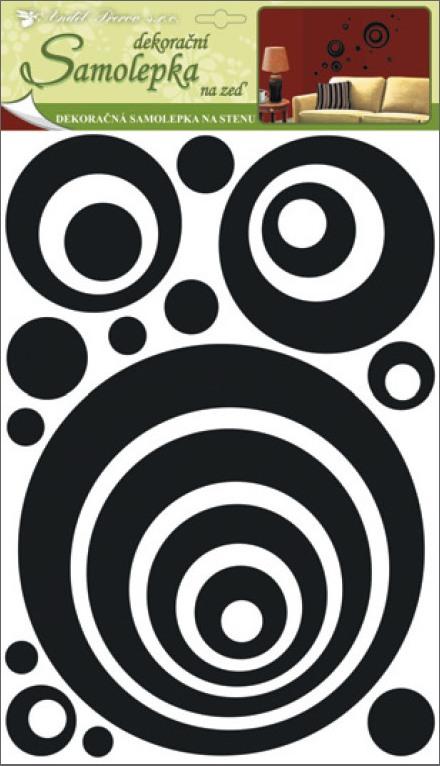 Samolepky na stěnu kruhy 3D-EVA s černými glitry, 41x29x0,4cm (1345)