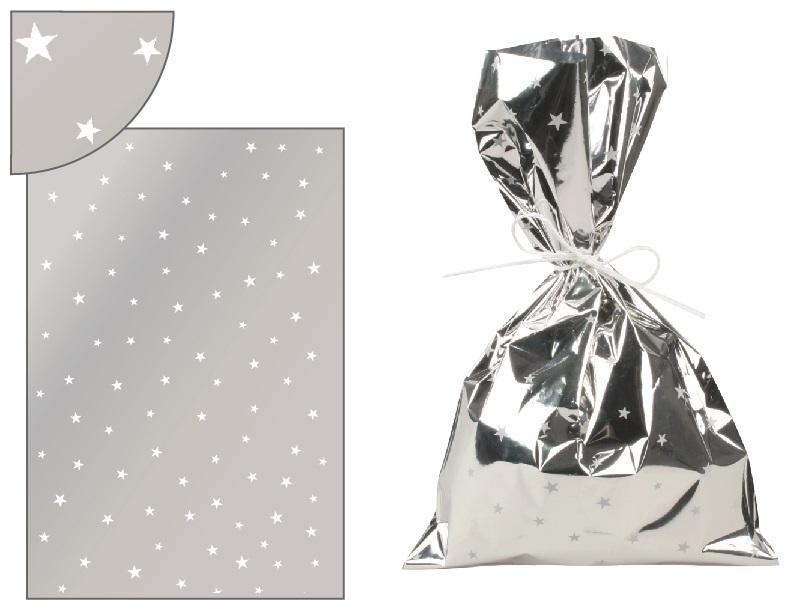 Sáček stříbrný s bílými hvězdičkami 16x25cm