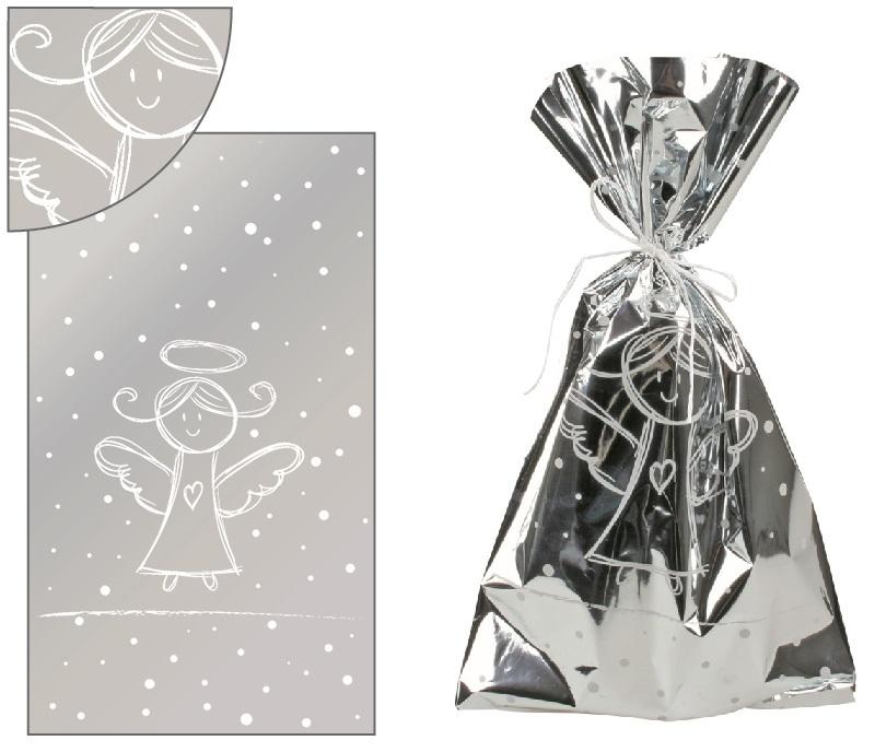 Sáček stříbrný s bílým andílkem 20x35cm