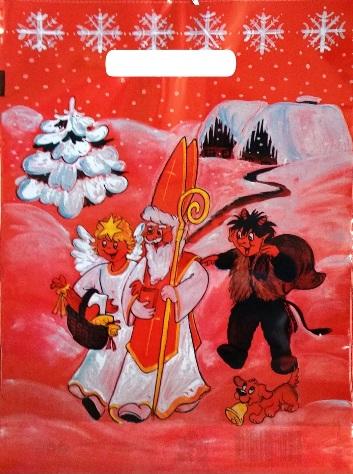 Igelitová taška červená - ČERT, MIKKULÁŠ, ANDĚL 36x27cm (1356)