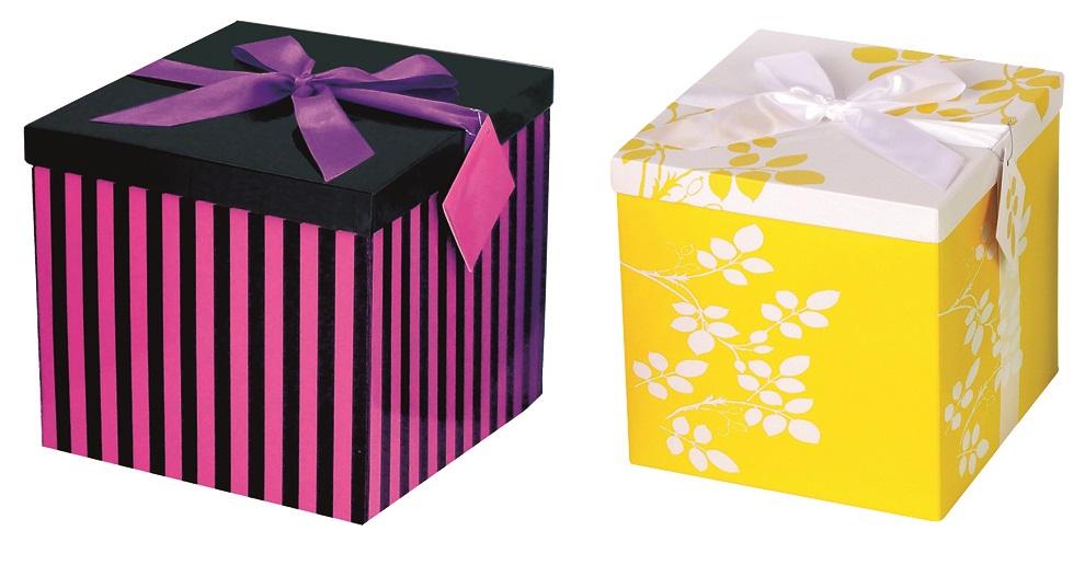 Dárková skládací krabička s mašlí celoroční XL 25x25x15cm