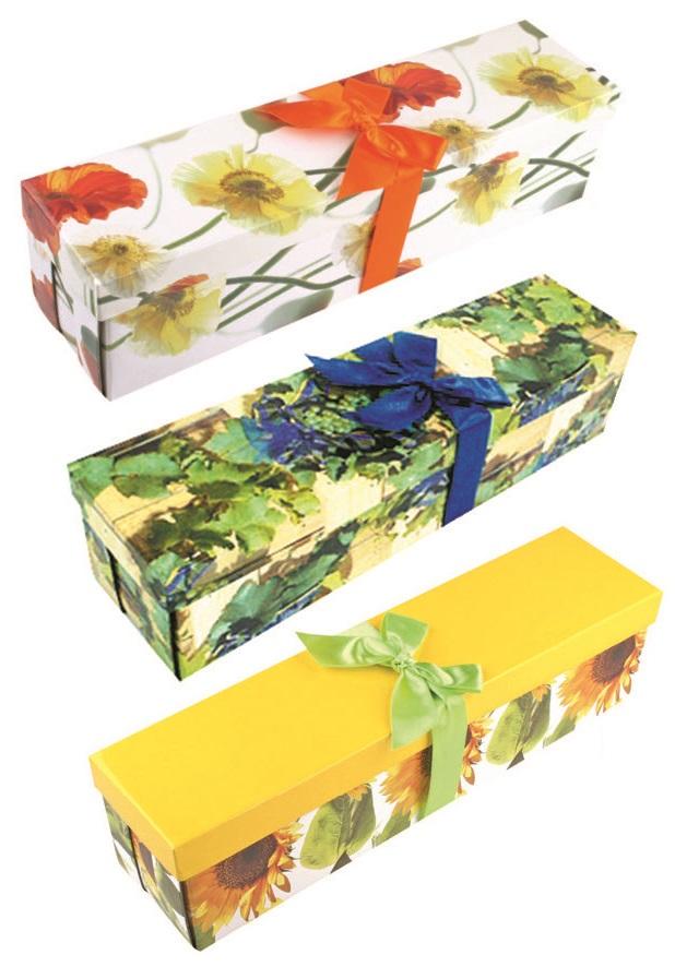 Dárková skládací krabička s mašlí na láhev celoroční, 34x9,5x9,5 cm