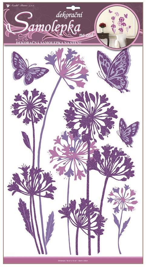 Samolepky na stěnu pampelišky fialové s glitrem 50x32 cm (1381)
