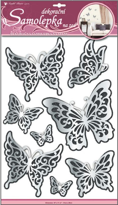 Samolepky na stěnu motýli zrcadloví s černým glitrem, 41x29cm (1388)