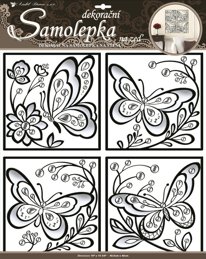 Samolepky na stěnu čtverce a motýli plastická, 40,5x40cm