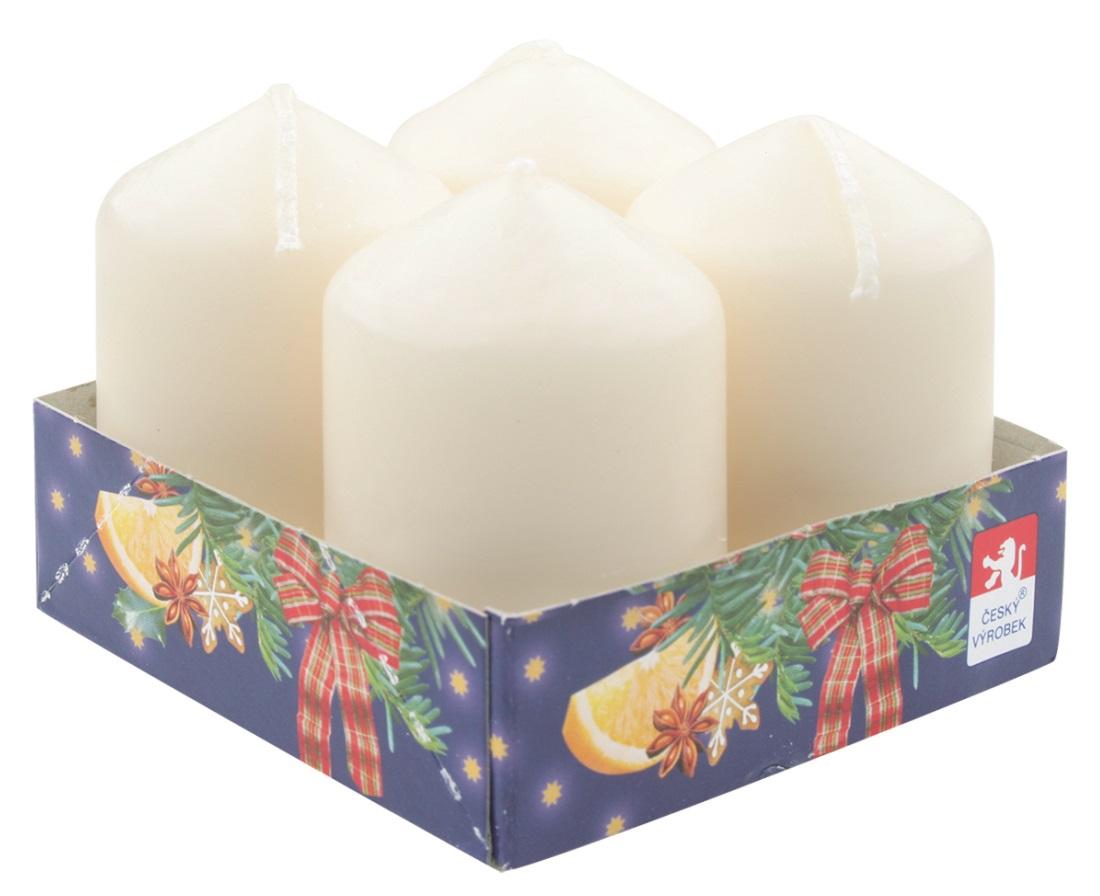 Adventní svíce válec krémová 40 x 60 mm, 4 ks v sadě