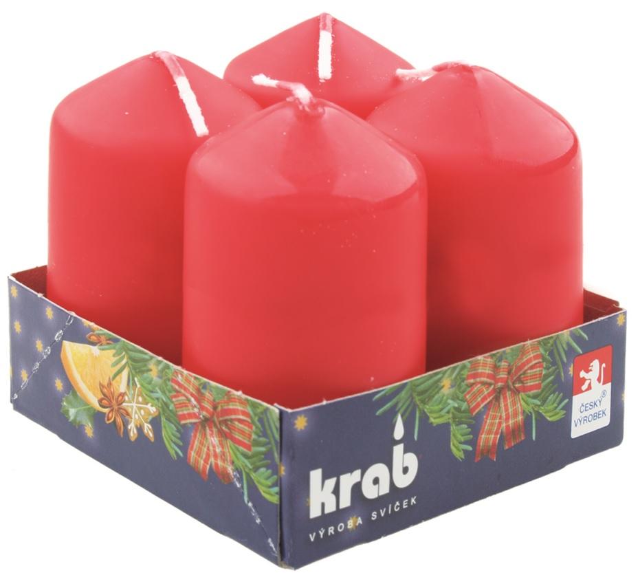 Adventní svíce válec červená 40 x 80 mm, 4 ks v sadě
