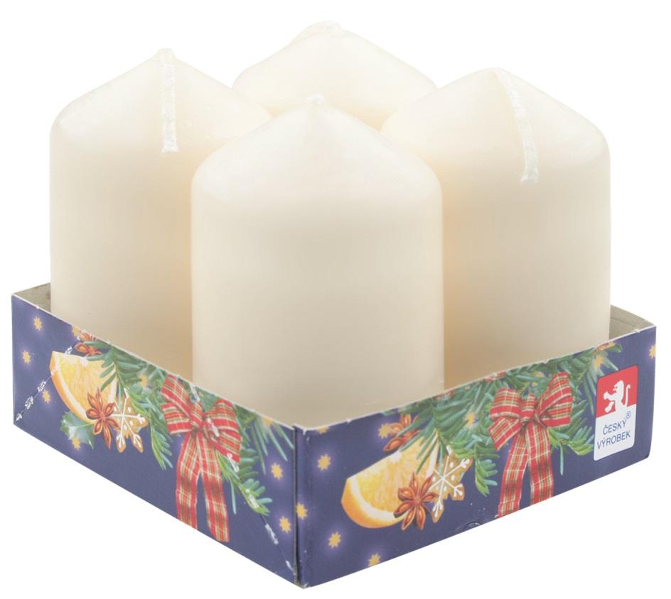 Adventní svíce válec krémová 40 x 80 mm, 4 ks v sadě
