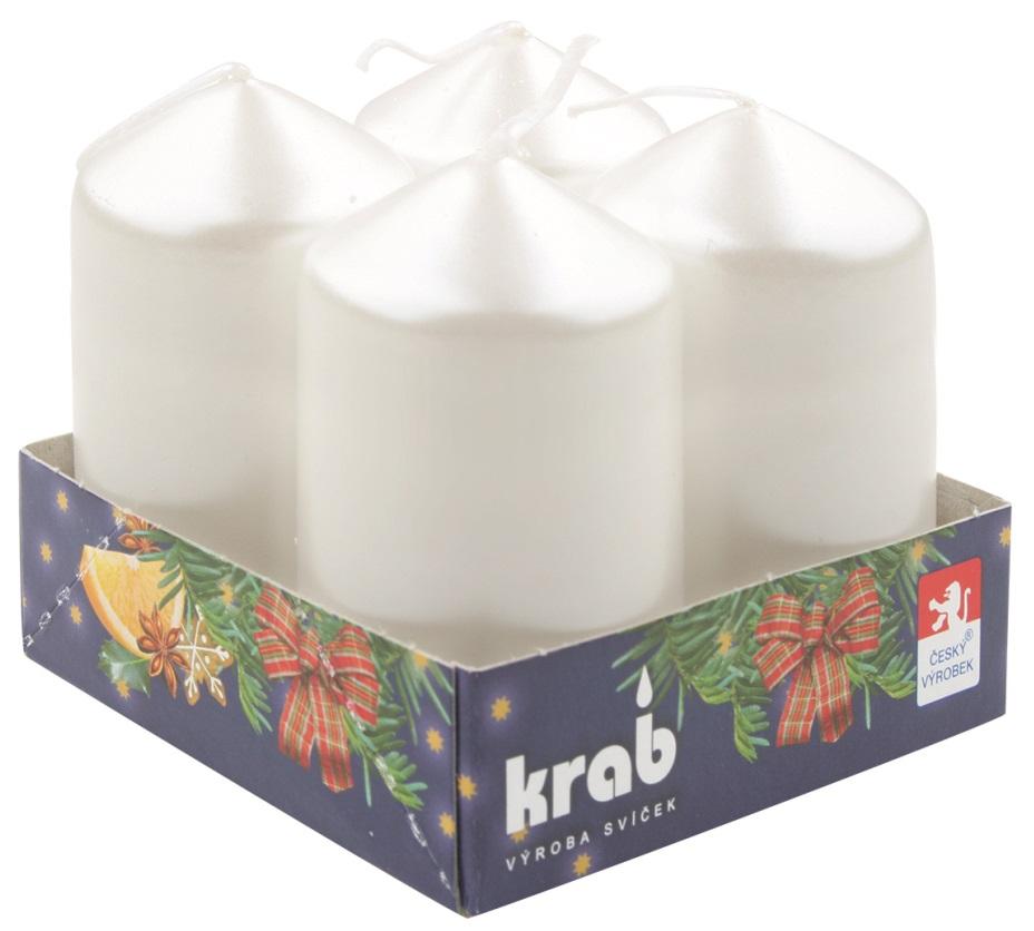 Adventní svíce válec bílý LAK 40 x 80 mm, 4 ks v sadě