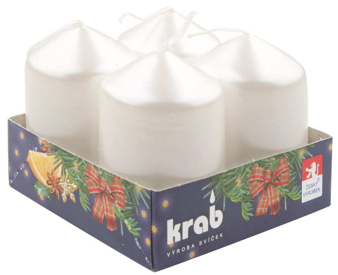 Adventní svíce válec bílá LAK 40 x 60 mm, 4 ks v sadě