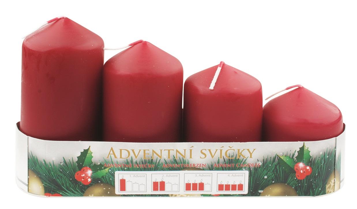 Adventní svíce válec bordó postupka 50, 75, 90, 105 x 60 mm, 4 ks