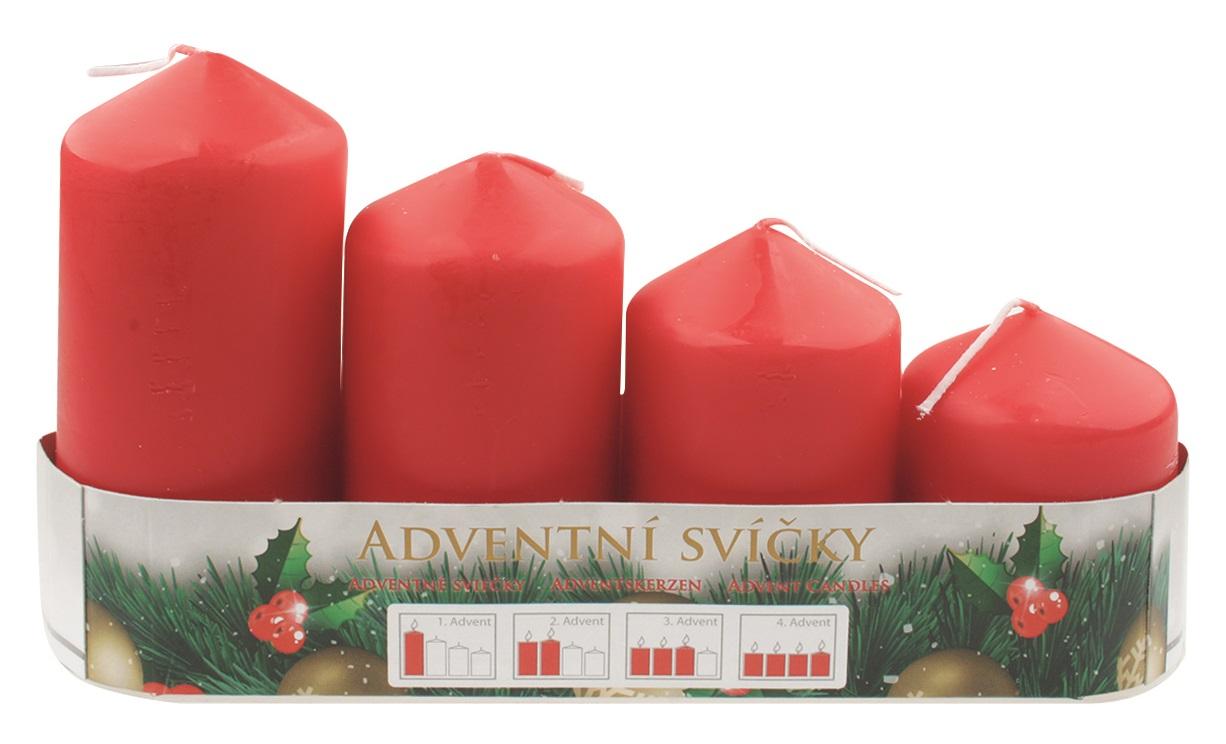 Adventní svíce válec červená postupka 50, 75, 90, 105 x 60 mm, 4 ks