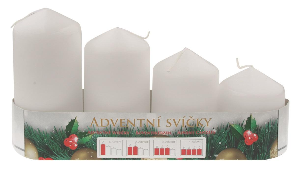 Adventní svíce válec bílá postupka 50, 75, 90, 105 x 60 mm, 4 ks