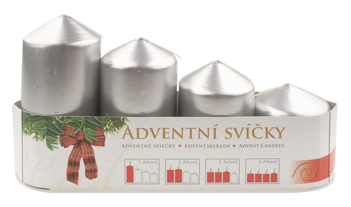 Adventní svíce válec stříbrná LAK, postupka 50, 75, 90, 105 x 60 mm, 4 ks (14371