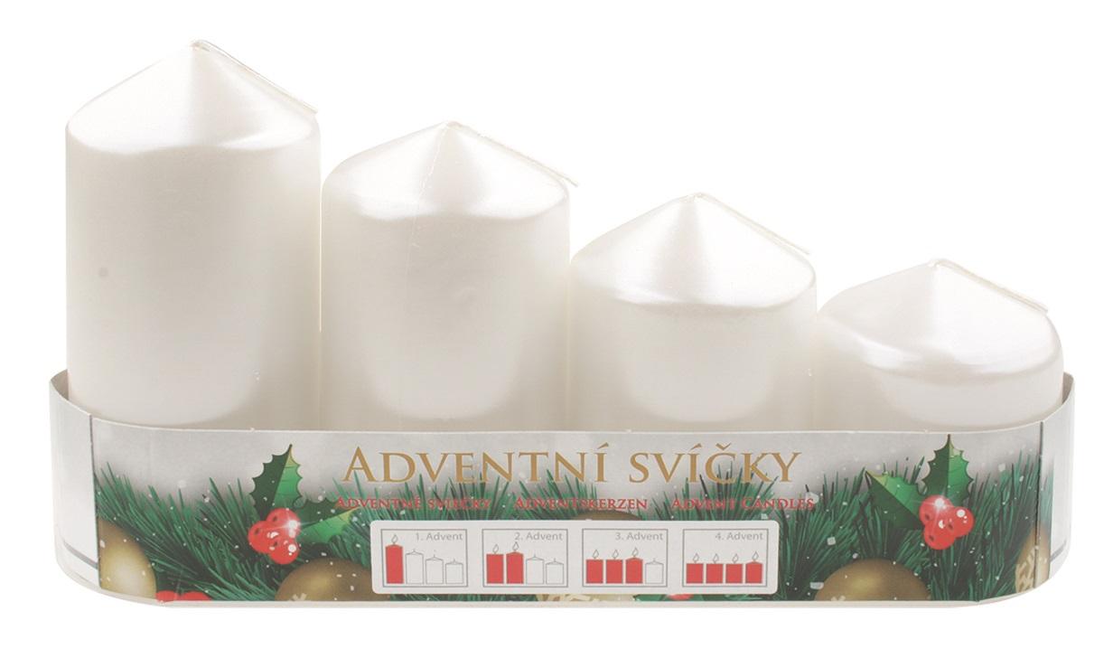 Adventní svíce válec bílá LAK, postupka 50, 75, 90, 105 x 60 mm, 4 ks