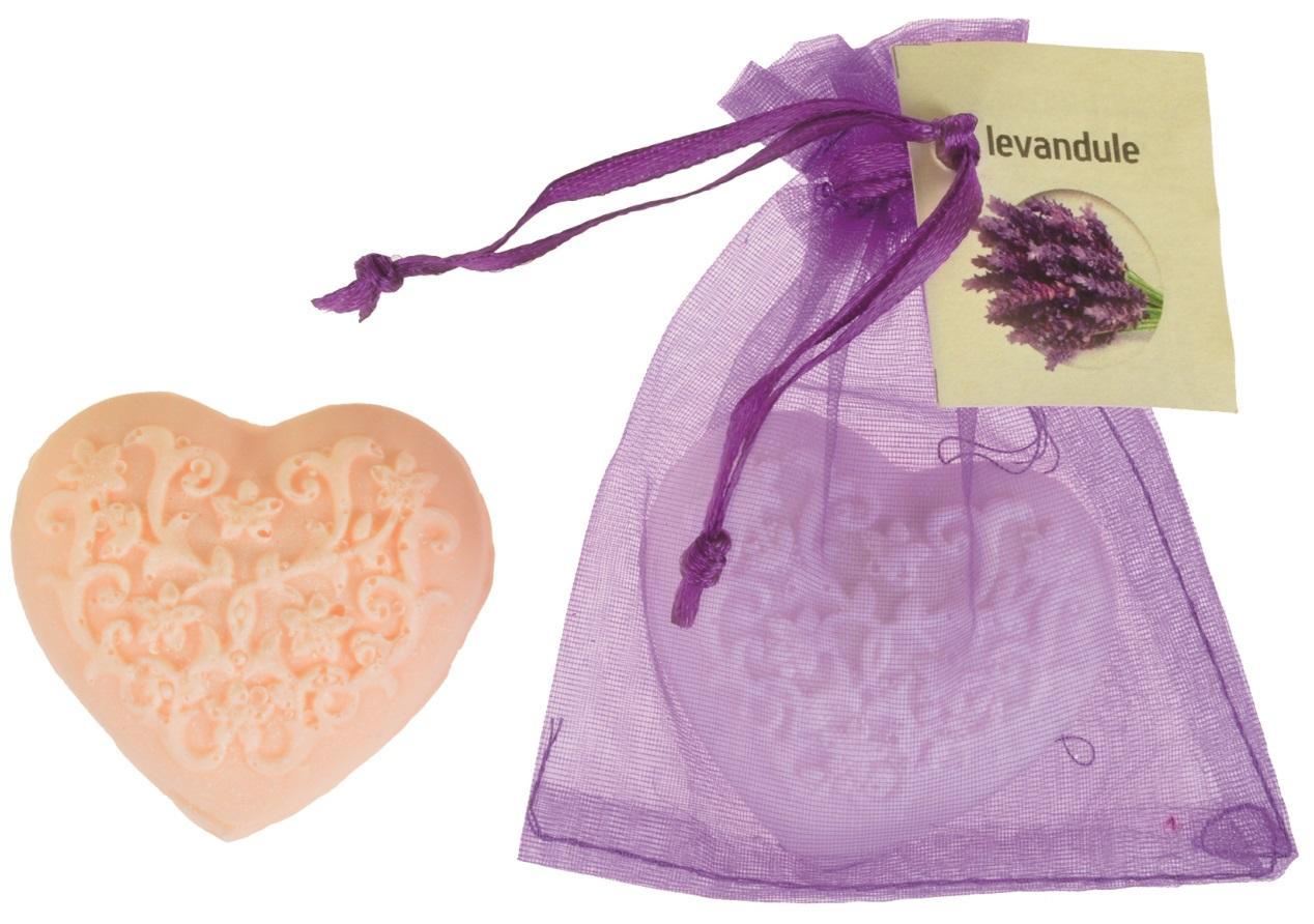 Mýdlo vonné glycerínové srdíčko levandule, 20 g
