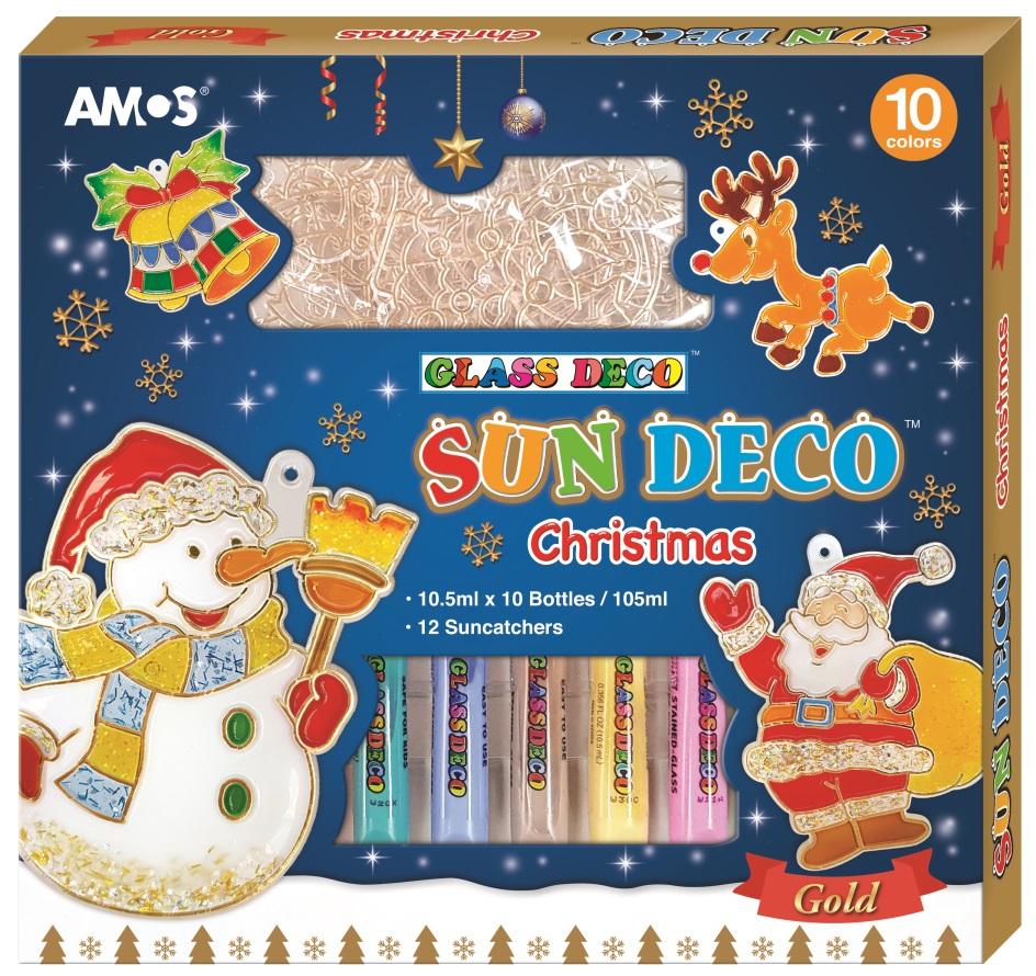 Barvy na skleněné plochy -Vánoční sada 10 barev 10,5 ml + 12 sklíček